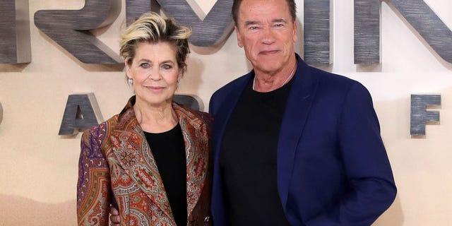 Linda Hamilton and Arnold Schwarzenegger attend the