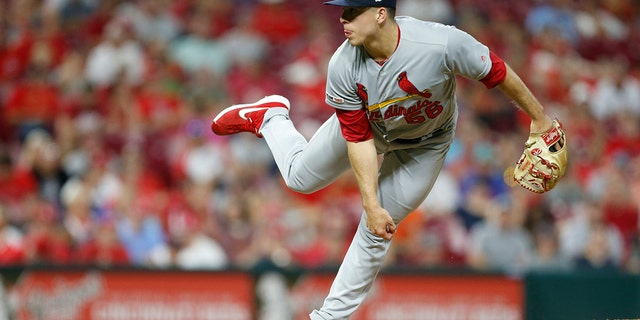 St. Louis Cardinals relief pitcher Ryan Helsley throws against the Cincinnati Reds, Aug. 15, 2019. (Associated Press)
