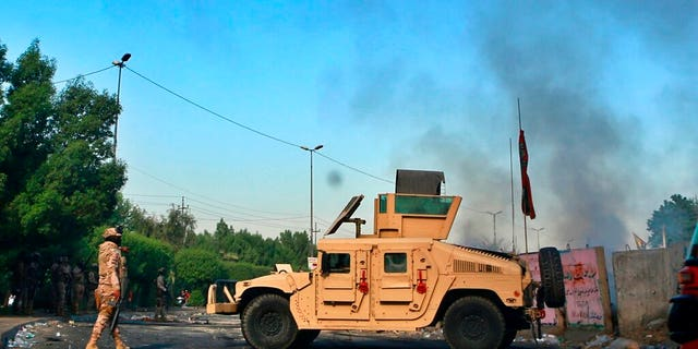 Iraqi Army troops deployed at a site of protests in Baghdad on Sunday.