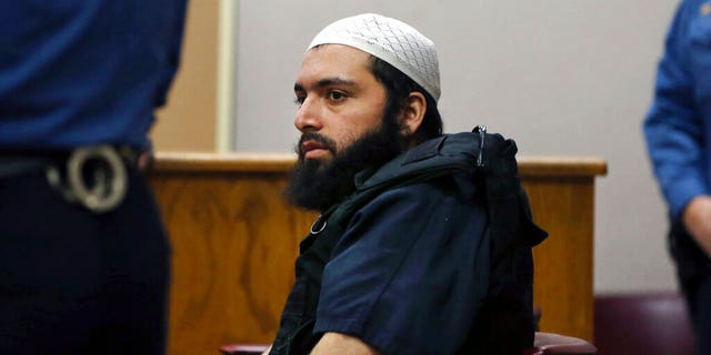 In this Dec. 20, 2016 file photo, Ahmad Khan Rahimi, the man accused of setting off bombs in New Jersey and New York's Chelsea neighborhood, sits in court in Elizabeth, N.J.<br>