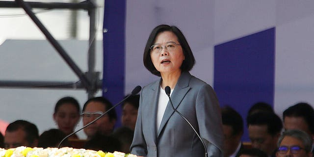 Taiwan President Tsai Ing-wen delivers a speech during National Day celebrations in front of the Presidential Building in Taipei, Taiwan, Thursday, Oct. 10, 2019.