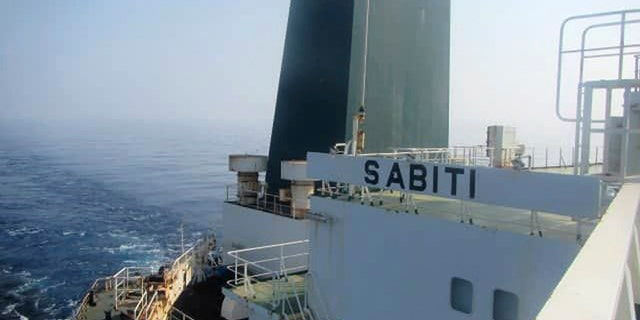 This photo was published by the official news agency The Iranian Oil Ministry SHANA shows the Iranian oil tanker Sabiti cruising the Red Sea on Friday, October 11, 2019. Two rockets hit the Iranian tanker Sabiti, which is sailing through the Red Sea off the coast of Saudi Arabia on Friday. Recent incident in the region amidst months of tensions between Tehran and the US (SHANA via AP)
