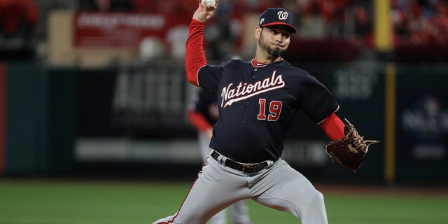 Washington Nationals starting pitcher Anibal Sanchez throws during the second inning of Game 1 of the baseball National League Championship Series against the St. Louis Cardinals Friday, Oct. 11, 2019, in St. Louis. (Associated Press)