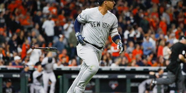 New York Yankees' Gleyber Torres rounds a bases after a home run during a sixth inning in Game 1 of baseball's American League Championship Series opposite a Houston Astros, Oct. 12, 2019, in Houston. (Associated Press)