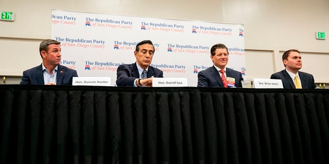 In this Monday photo, Republican candidates for the 50th congressional district, from left, Congressman Duncan Hunter, former Congressman Darrell Issa, state Sen. Brian Jones, and former city councilman Carl DeMaio, take part in a candidate forum sponsored by the Republican Party of San Diego County. (Sam Hodgson/The San Diego Union-Tribune via AP)
