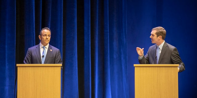Republican Gov. Matt Bevin, left, and Democratic Attorney General Andy Beshear participate in a debate at the Singletary Center for the Arts on the University of Kentucky campus in Lexington, Ky., on Oct. 15. (Ryan C. Hermens/Lexington Herald-Leader via AP, Pool)