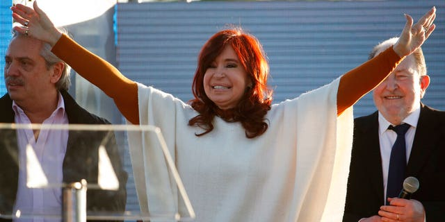Cristina Fernandez de Kirchner greets supporters at a campaign rally in Santa Rosa, Argentina, Thursday, Oct. 17, 2019.