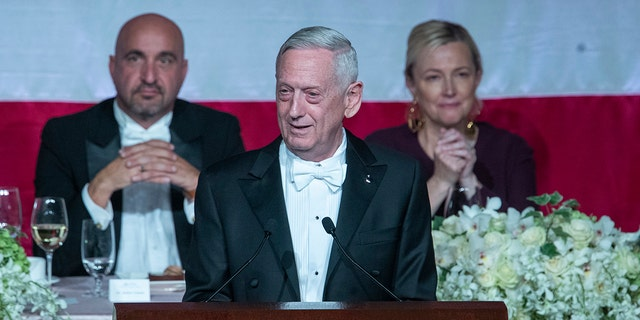 Former U.S. Secretary of Defense Jim Mattis, center, delivers the keynote address during the 74th Annual Alfred E. Smith Memorial Foundation Dinner, Thursday, Oct. 17, 2019, in New York. (Associated Press)