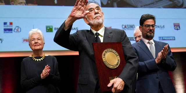 US director Francis Ford Coppola holds his award during the Lumiere Award ceremony of the 11th Lumiere Festival, in Lyon, central France.