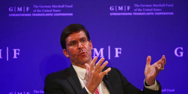 U.S. Secretary for Defense Mark Esper speaks during a panel discussion at the Concert Noble in Brussels, Thursday, Oct. 24, 2019.