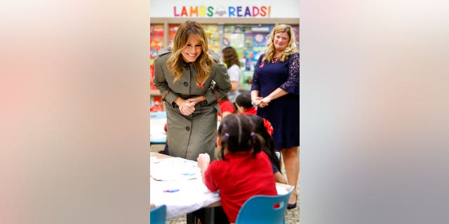 First lady Melania Trump speaks to students at Lambs Elementary Wednesday in North Charleston, S.C. (AP Photo/Mic Smith)