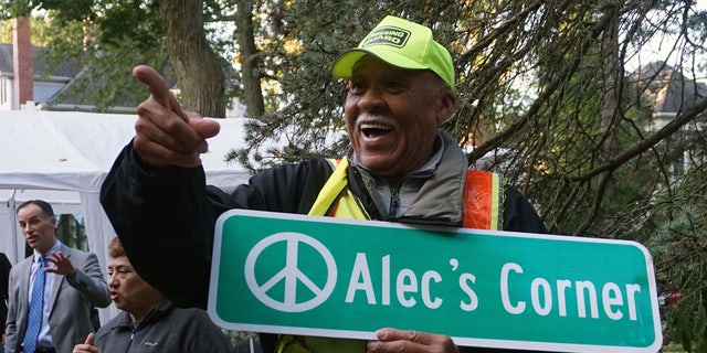 The Village of Wilmette gifted Alec Childress an honorary street sign for his 80th birthday.