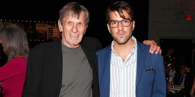 Actors Leonard Nimoy and Zachary Quinto attend the Sundance Institute Vanguard Leadership Award honoring Glenn Close at Stage 37 on June 4, 2014, in New York City.
