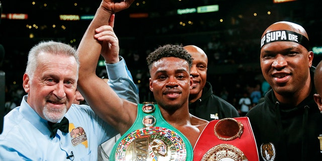 Errol Spence Jr. celebrates his victory over Shawn Porter in Los Angeles last month. (AP Photo/Ringo H.W. Chiu)