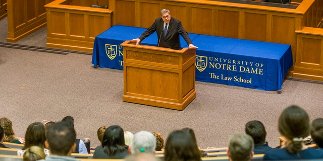 United States Attorney General William P. Barr speaks to Notre Dame Law School students and faculty on Friday, Oct. 11, 2019, inside Notre Dame's Eck Hall of Law in South Bend, Ind. (Robert Franklin/South Bend Tribune via AP)