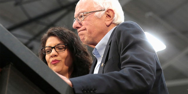 Democratic 2020 U.S. presidential candidate Senator Bernie Sanders and Rep. Rashida Tlaib address the audience during a Sanders campaign rally in Detroit, Michigan. (REUTERS/Rebecca Cook)
