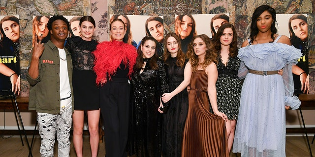 The cast of 'Booksmart' Austin Crute, Diana Silvers, Olivia Wilde, Beanie Feldstein, Kaitlyn Dever, Billie Lourd, Molly Gordon and Jessica Williams attend the New York screening at the Whitby Hotel.