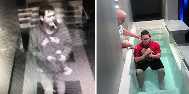 Brenton Winn, 23, pictured on the left vandalizing Central Baptist Church of Conway, Ark., and on the right, he is being baptized in the same church during a Wednesday night service, just months later.