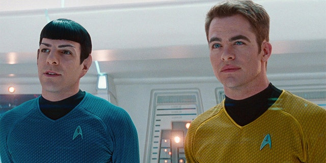 "Zachary Quinto as Commander Spock and Chris Pine as Captain James T. Kirk in the 2013 movie, ""Star Trek: Into Darkness."" Release date May 16, 2013."