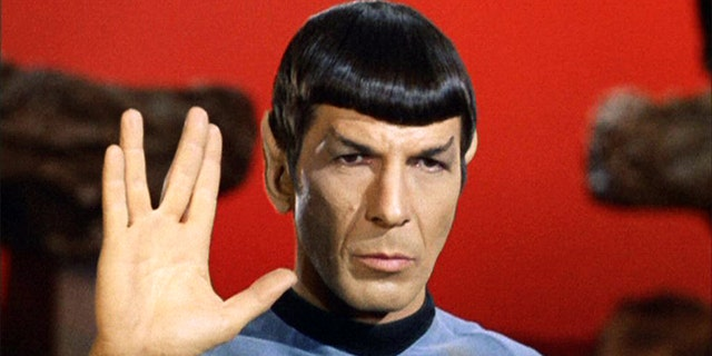 "Leonard Nimoy as Mr. Spock in ""Star Trek: The Original Series"" episode ""Amok Time."" Spock shows the Vulcan salute, usually accompanied with the words, ""Live long and prosper."" Original airdate, September 15, 1967."