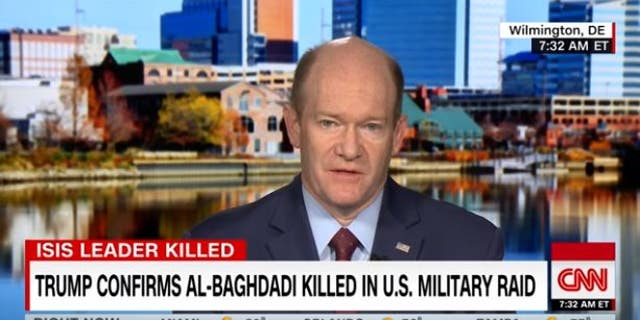 Sen. Chris Coons, D-Del., warns his party not to adopt incendiary chants against the president.