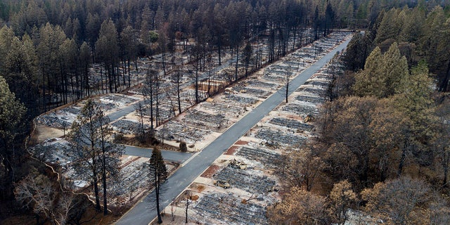 In this Dec. 3, 2018, file photo, homes leveled by the Camp Fire line the Ridgewood Mobile Home Park retirement community in Paradise, Calif.