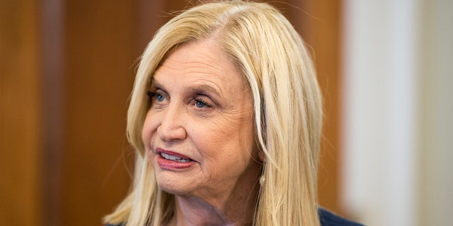 Rep. Carolyn Maloney, D-N.Y., holds a news conference on guns and suicide in the Longworth House Office Building on Monday, Oct. 21, 2019. Maloney is the chairwoman of the House Oversight Committee behind the subpoena of Trump's records. (Photo By Bill Clark/CQ-Roll Call, Inc via Getty Images)
