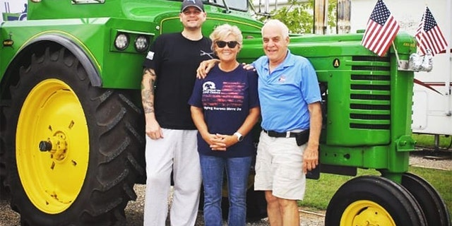 Operation Second Chance founder and CEO Cindy McGrew (center) and Ivan Stoltzfus (right), along with Jeremy, in Texas in August. (Courtesy of Operation Second Chance)