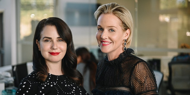 "Actresses Mia Kirshner and Penelope Ann Miller from the Lifetime original movie ""The College Admissions Scandal."""