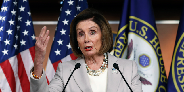 House Speaker Nancy Pelosi of Calif., gestures while speakings during a news conference on Capitol Hill in Washington, Thursday, Oct. 17, 2019. (Associated Press)