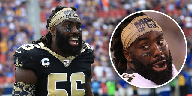 Demario Davis of the New Orleans Saints and his controversial headband.