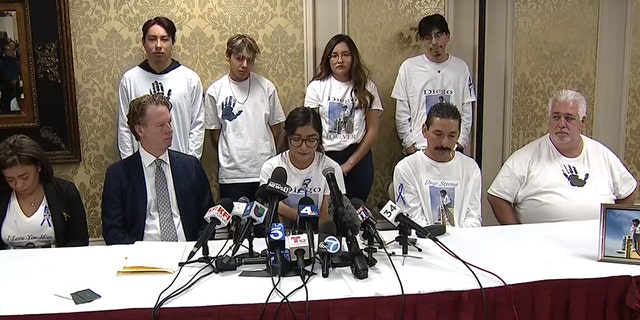 The family of Diego Stolz is joined by attorney Dave Ring to announce their wrongful death claim against the Moreno Valley Unified School District.