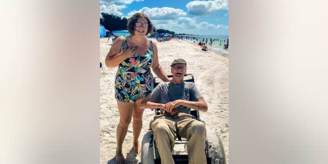 The 93-year-old man's daughter organized the first-ever beach trip for Fisher's birthday.