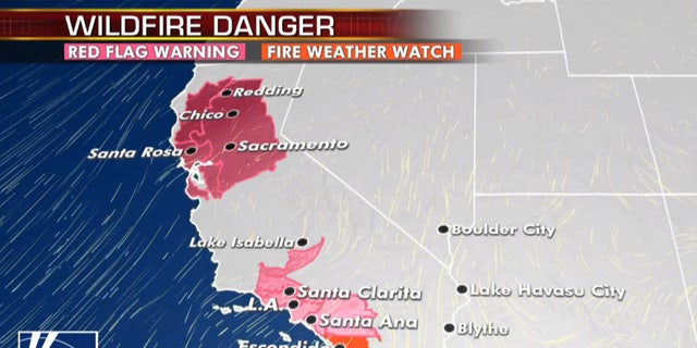The fire danger in northern and southern California persists through Monday.