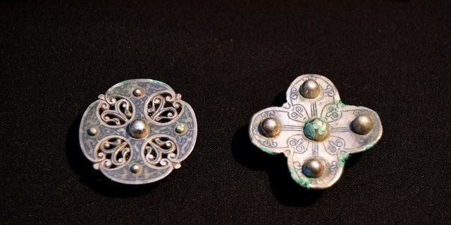 Treasures from the Galloway Hoard are displayed for media at the National Museums of Scotland on October 26, 2017, in Edinburgh, Scotland - file photo.