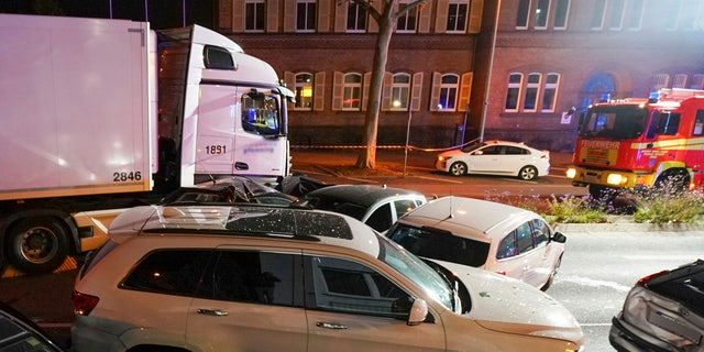 The truck drove into a line of eight cars in Limburg, Germany late Monday afternoon, pushing the vehicles into each other. Police said seven people were taken to hospitals and the driver also was slightly injured.