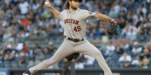Gerrit Cole pitched seven shutout innings in Tuesday's Game 3. (AP Photo/Frank Franklin II)
