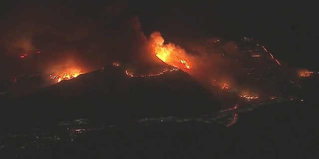 The communities of Mountain Gate and Mandeville Canyon were ordered to evacuate after the blaze erupted early Monday.