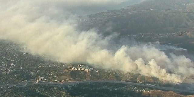 The extent of the Getty Fire can be seen Monday morning.