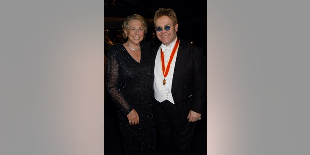 Sir Elton John and his mother Sheila Farebrother during The Fifth Annual White Tie & Tiara Ball to Benefit the Elton John Aids Foundation in Association with Chopard — Dinner at Elton John Residence in Windsor, England, United Kingdom.