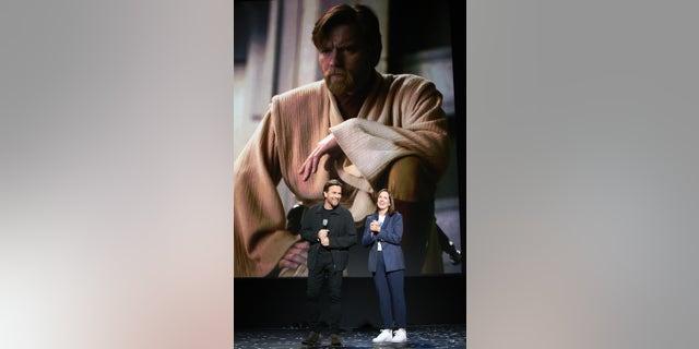 (L-R) Ewan McGregor of 'Untitled Obi-Wan Kenobi Series' and Lucasfilm president Kathleen Kennedy