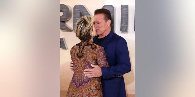 Linda Hamilton and Arnold Schwarzenegger attend the 'Terminator: Dark Fate' photocall on October 17, 2019 in London, England.