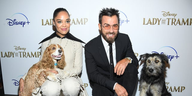 Tessa Thompson, Rose, Justin Theroux and Monte at a screening of Disney 's