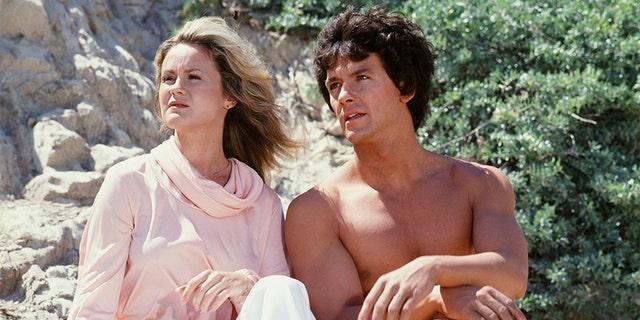 "Belinda Montgomery as Dr. Elizabeth Merrill, Patrick Duffy as Mark Harris in ""Man from Atlantis."""