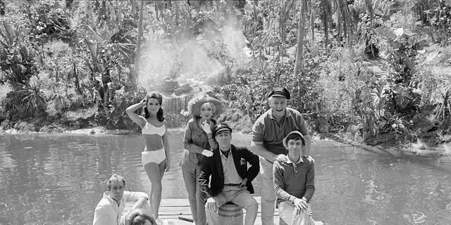 The original cast, from left: Russell Johnson (as The Professor, Roy Hinkley); Tina Louise (as Ginger Grant); standing: Dawn Wells (as Mary Ann Summers); Natalie Schafer (as Mrs. Lovey Howell); Jim Backus (as Thurston Howell III); Alan Hale, Jr. (as The Skipper, Jonas Grumby) and Bob Denver (as Gilligan). Image dated April 15, 1966. (Photo by CBS via Getty Images)