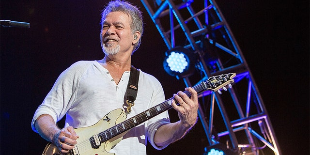 Guitarist Eddie Van Halen of Van Halen performs on stage at Sleep Train Amphitheatre on September 30, 2015, in Chula Vista, California.