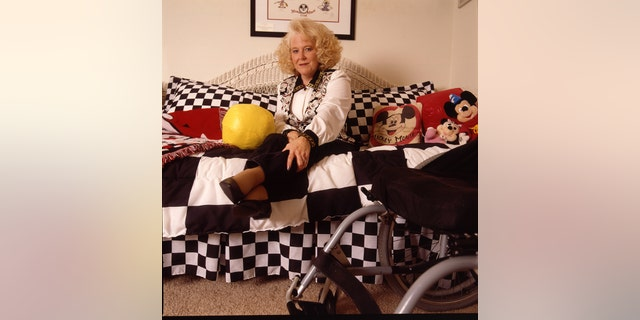 Portrait session with former Mousketeer Karen Pendleton at home in 1997. She counseled battered women and was paralyzed from the waist down.