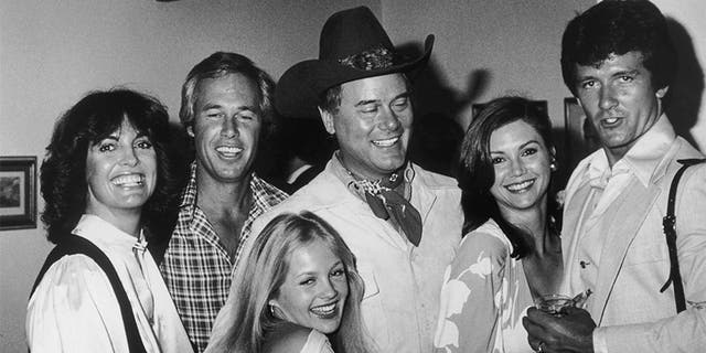 Cast members of the TV program 'Dallas' attend a party thrown for them by the Worldvision television company at the Century Plaza Hotel, LA, May 1978. From left to right, they are Linda Gray, Steve Kanaly, Charlene Tilton, Larry Hagman, Victoria Principal and Patrick Duffy.