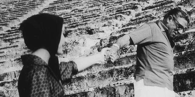 Greek shipping executive Aristotle Onassis (1906 - 1975) with Greek-American opera singer Maria Callas (1923 - 1977), circa 1960.