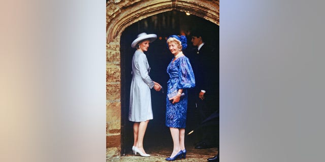 Diana, Princess of Wales with her mother Frances Shand Kydd at the wedding of her brother Vicount Spencer to fashion model Victoria Lockwood at Althorpe in September 1989. Letters written by the two are being auctioned off.